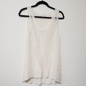 CAbi 694 Crochet Linen Sleeveless Knit Sweater